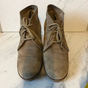 J. Crew Tan Leather/ Suede Rubber Wedge Booties- 8